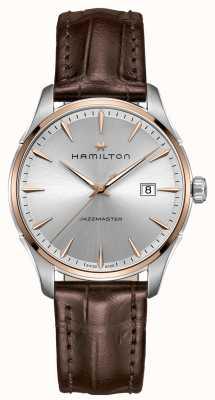 Hamilton Bracelet en cuir marron pour homme Jazzmaster Cadran argenté H32441551