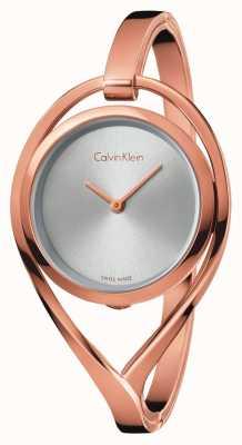 Calvin Klein Cadran argenté moyen pour femme en or rose clair K6L2M616
