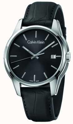 Calvin Klein Hommes, ton, noir, cuir, sangle, noir, cadran K7K411C1