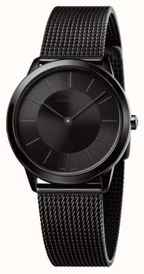 Calvin Klein Chaîne de maille noire minimale femme cadran noir K3M224B1