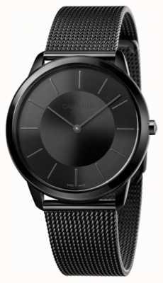 Calvin Klein Bracelet en maille mince pour hommes noir cadran noir K3M214B1