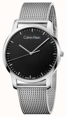 Calvin Klein Mens city bracelet en maille en acier inoxydable cadran noir K2G2G121