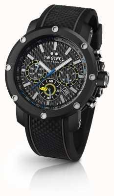 TW Steel Mens bracelet en caoutchouc noir cadran de chronographe noir TW937