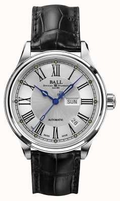 Ball Watch Company Trainmaster romaine automatique crockodile bracelet cadran blanc NM1058D-L4J-WH