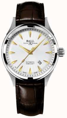 Ball Watch Company Fireman racer classique bracelet crockodile automatique cadran argenté NM2288C-LJ-SL