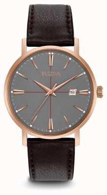Bulova Bracelet aerojet en cuir noir pour homme avec cadran gris 97B154