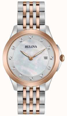 Bulova Womans rose plaqué deux diamants ton 98S162