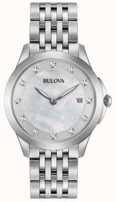 Bulova Womans diamant d'argent en acier inoxydable 96S174