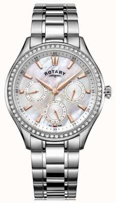 Rotary Womans hampstead de nacre en acier inoxydable LB05056/07