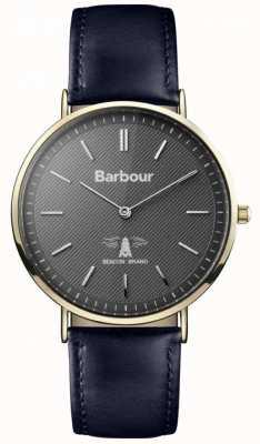 Barbour Mens cadran noir hartley bracelet en cuir noir BB055GDBL