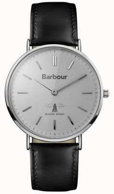 Barbour Mens HARTLEY cadran gris bracelet en cuir noir BB055SLBK