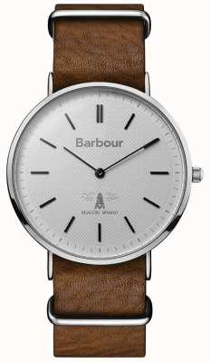 Barbour Mens HARTLEY cadran gris bracelet en cuir tan BB055SLBR