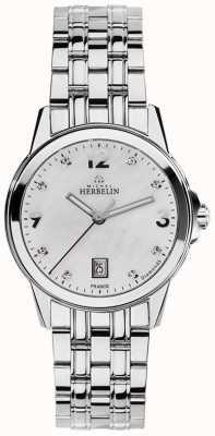 Michel Herbelin Womans acier inoxydable ville mère de nacre diamant cadran 14250/B89