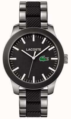 Lacoste Bracelet en caoutchouc noir et bracelet en acier inoxydable 2010890