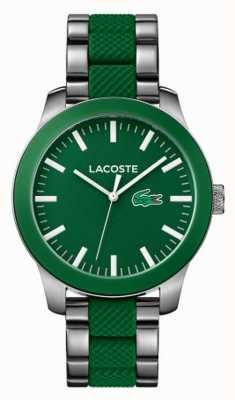 Lacoste Mens caoutchouc vert et bracelet en acier inoxydable 2010892