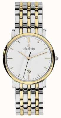 Michel Herbelin Mens deux tons en acier inoxydable argent bracelet en or cadran bâton 12543/BT11