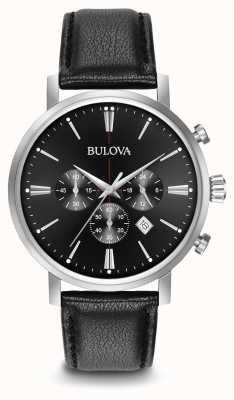 Bulova chronographe bracelet en cuir noir pour hommes 96B262