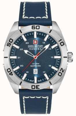 Swiss Military Hanowa Champ bracelet en cuir bleu 6-4282.04.003