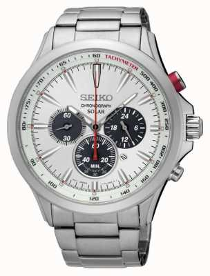 Seiko Mens chronographe solaire en acier inoxydable cadran blanc SSC491P1