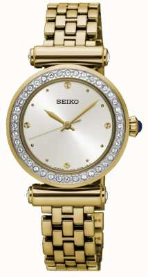 Seiko plaqué or Femmes cadran blanc en acier SRZ468P1