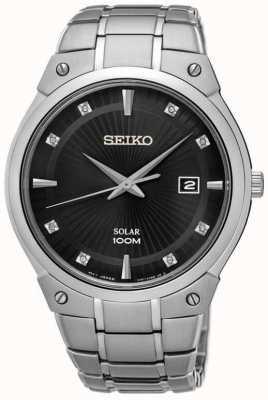 Seiko Mens cadran noir cadran de diamant en acier inoxydable solaire SNE429P9