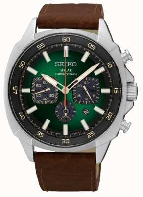 Seiko Mens énergie solaire réfléchissant cadran vert bracelet en cuir SSC513P9