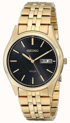 Seiko Mens plaqué or solaire date de jour SNE044P9