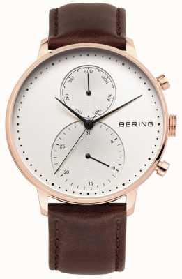 Bering Mens rose ton or, bracelet en cuir brun 13242-564