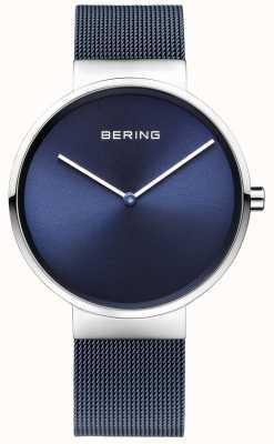 Bering fer bleu unisexe acier plaqué bracelet en maille 39mm 14539-307