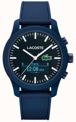 Lacoste Mens caoutchouc bleu montre intelligente 12.12 contact bluetooth 2010882