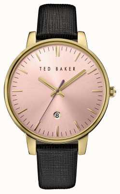 Ted Baker Womans cuir noir cadran bracelet rose TE10030740