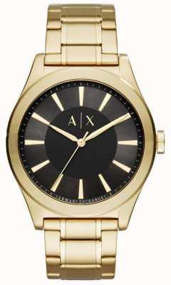 Armani Exchange Mens ton or en acier inoxydable cadran noir AX2328