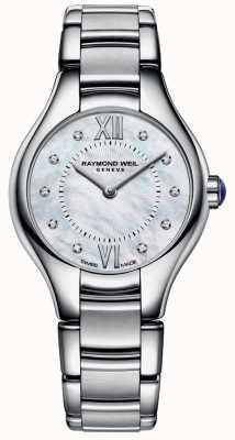 Raymond Weil Cadran en nacre à 10 diamants en acier inoxydable pour femme 5124-ST-00985