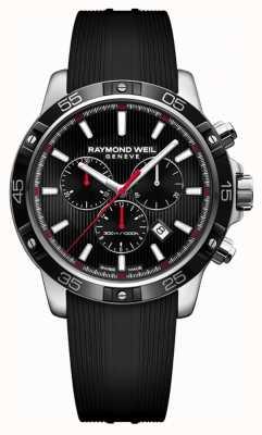 Raymond Weil Mens tango 43mm noir chronographe bracelet en caoutchouc noir 8560-SR1-20001
