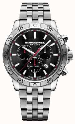 Raymond Weil Mens tango 43mm noir chronographe en acier inoxydable 8560-ST2-20001