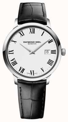 Raymond Weil Mens mince blanc cuir noir 5488-STC-00300