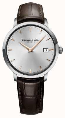 Raymond Weil Bracelet en cuir mince marron argenté pour homme 5488-SL5-65001