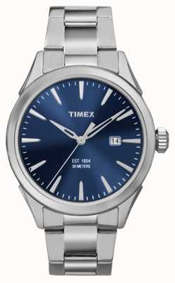 Timex Mens 3 ton argent main cadran bleu TW2P96800