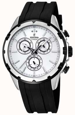 Festina Mens chronographe bracelet en caoutchouc noir cadran blanc F16838/1