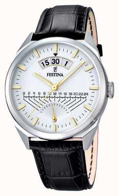 Festina Mens cuir noir cadran bracelet en argent F16873/2