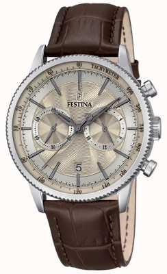 Festina Mens chronographe bracelet en cuir brun cadran beige F16893/7