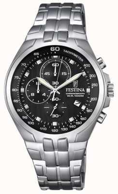 Festina Mens chronographe bracelet en acier inoxydable cadran noir F6843/4