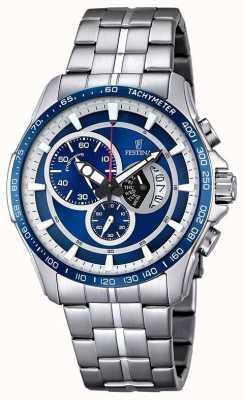 Festina Mens chronographe bracelet en acier inoxydable cadran bleu F6850/2