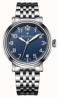 Dreyfuss mens en acier inoxydable 1924 bracelet cadran bleu DGB00152/52