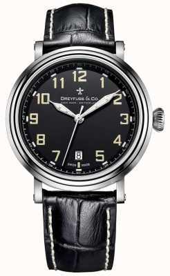1924 bracelet en cuir noir Dreyfuss en acier inoxydable pour hommes DGS00152/19