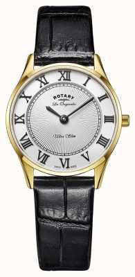 Rotary Modèle d'affichage - bracelet en cuir noir plaqué or LS90803/01