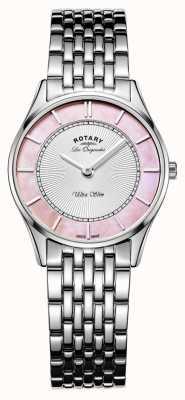 Rotary Mesdames bracelet en acier inoxydable mère rose cadran nacre LB90800/07