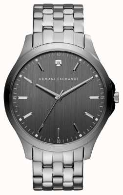 armani exchange mens cuir noir montre ax1418. Black Bedroom Furniture Sets. Home Design Ideas