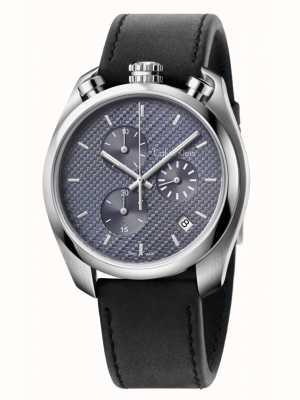 Calvin Klein Contrôle chronographe en cuir noir K6Z371C4