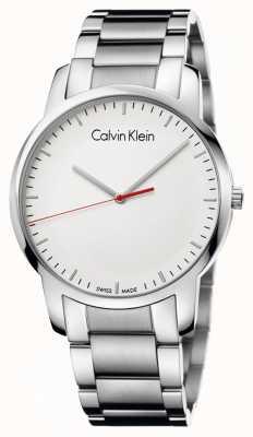 Calvin Klein Mens ville polie montre cadran blanc K2G2G1Z6